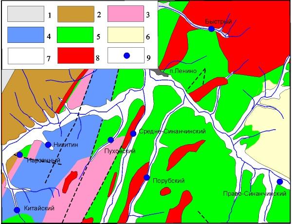 Схема локализации источников Ленинской группы