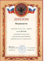Диплом за 3 место в соревнованиям по лыжным годкам среди работников учреждений ДВО РАН / спартакиада - 2015