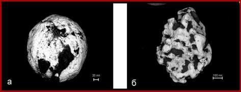 Сфероидальные обособления платины (а,б) с фрагментами углеродсодержащей  оболочки из проявлений благороднометально-киноварной минерализации юга Приморского края