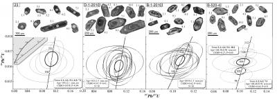 Рис. 2. Катодолюминисцентные изображения цирконов (вверху) и их диаграммы конкордий (внизу). Белые овалы на фото – области анализа