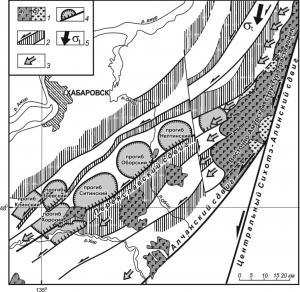 Рис. 13. Структурно-кинематическая схема формирования локальных впадин Переясловского грабена (юго-восток Среднеамурского бассейна): 1 – кайнозойско-четвертичные базальты (а) и позднемеловые вулканогенно-осадочные комплексы (б); 2 – выступы складчатого фундамента, ограниченные сдвигами (по геофизическим данным); 3–4 – направление растяжений блоков фундамента (3) с формированием локальных впадин (4); 5 – касательное (тангенциальное) сжатие, продуцированное левосторонним смещением блока