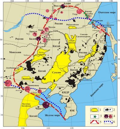 Рис. 1 Схема размещения суперкрупных и некоторых других золоторудных районов Восточной Азии над фронтальной и фланговыми границами стагнированного океанического слэба. 1, 2 – позднемезозойско-кайнозойские образования [по: Ярмолюк и др., 2011]: 1 – эпирифтогенные депрессии, 2 – поля базальтов; 3 – платиноносные щелочно-ультраосновные массивы; 4 – суперкрупные (А, Б, Ч) и другие золоторудные районы; 5 – проекция слэба с глубины 550 км; 6 – контуры Амурской плиты, по Л.П. Зоненшайну