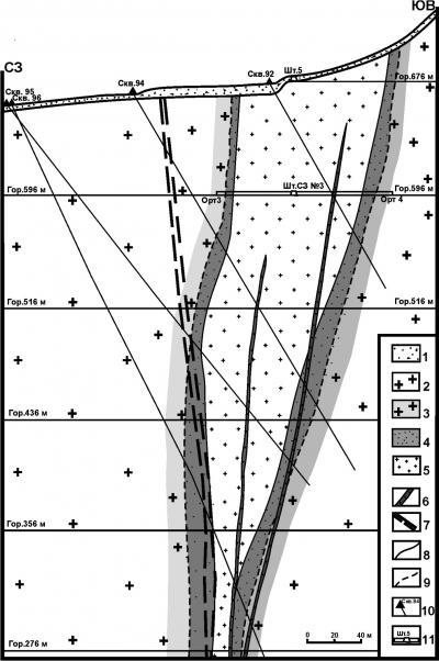 Рис. 3. Разрез центральной части рудовмещающей флюидно-эксплозивной структуры Березитового месторождения: 1 – четвертичные рыхлые делювиальные отложения; 2 – палеозойские биотит-роговообманковые порфировидные гранодиориты и граниты; 3 – метасоматически измененные гранодиориты; 4 – гранат-ортоклаз-биотит-анортит-мусковит-кварцевые метасоматиты с пиритовой минерализацией; 5 – турмалин-гранат-мусковит-кварцевые метасоматиты с золото-полиметаллической минерализацией;  6 –дайки метапорфиритов;  7 – зоны интенсивного дробления пород;  8 – границы внутренней зоны метасоматитов; 9 – границы внешней зоны метасоматитов; 10 – скважины; 11 – подземные горные выработки