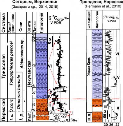 Рис. 6. Корреляция пограничных слоев перми и триаса Бореальной области (Верхоянье и Норвегия) по палеонтологическим и изотопным данным